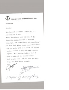 Thumbnail of Note from Jacque Orsie to Laurie Roggenburk