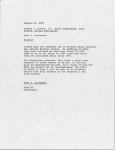 Thumbnail of Memorandum from Mark H. McCormack to Arthur J. Lafave, Brian Roggenburk, Dick             Alford and Arnold Schoenfeld