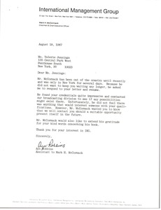 Thumbnail of Letter from Ayn Robbins to Valerie Jennings