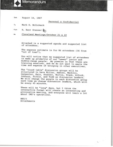 Thumbnail of Memorandum from H. Kent Stanner to Mark H. McCormack