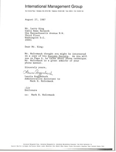 Thumbnail of Letter from Laurie Roggenburk to Larry King