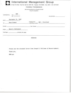 Thumbnail of Fax from Mark H. McCormack to Hans Kramer