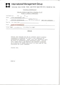 Thumbnail of Fax from Mark H. McCormack to Arthur Rosenblum