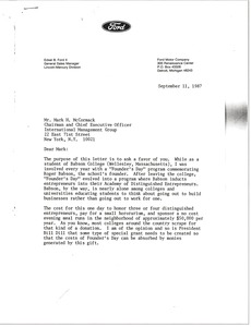 Thumbnail of Letter from Edsel B. Ford to Mark H. McCormack