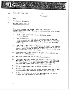 Thumbnail of Memorandum from William H. Carpenter to list