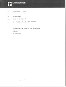 Thumbnail of Memorandum from Mark H. McCormack to Barry Frank