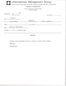Thumbnail of Fax from Mark H. McCormack to Dick Moore
