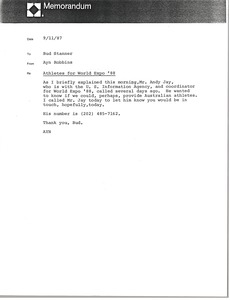 Thumbnail of Memorandum from Ayn Robbins to Bud Stanner