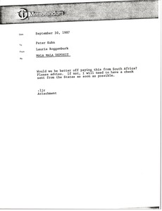 Thumbnail of Memorandum from Laurie Roggenburk to Peter Kuhn
