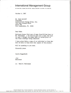 Thumbnail of Letter from Laurie Roggenburk to Wade Setliff