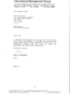 Thumbnail of Letter from Mark H. McCormack to Ion Tiriac