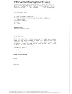 Thumbnail of Letter from Mark H. McCormack to Christopher Lewinton