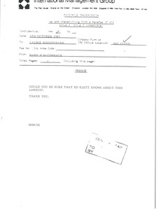 Thumbnail of Fax from Mark H. McCormack to Laurie Roggenburk