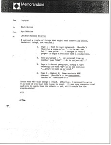 Thumbnail of Memorandum from Ayn Robbins to Mark Reiter