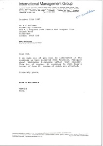 Thumbnail of Letter from Mark H. McCormack to R. E. McCowen