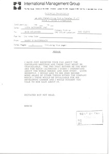 Thumbnail of Fax from Mark H. McCormack to Bud Stanner