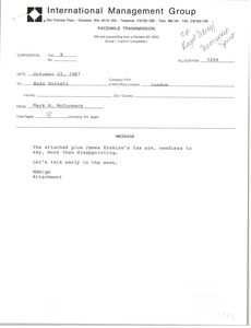 Thumbnail of Fax from Mark H. McCormack to Buzz Hornett