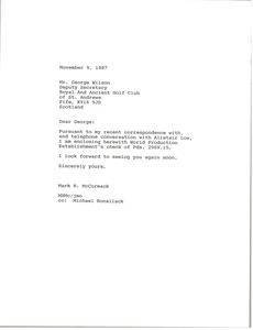 Thumbnail of Letter from Mark H. McCormack to George Wilson