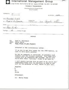 Fax from Peter Smith to Mark H. McComrack