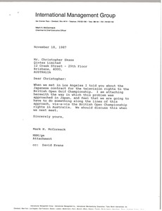 Thumbnail of Letter from Mark H. McCormack to Christopher Skase