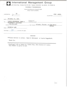 Thumbnail of Fax from Michelle Lane to Laurie Roggenburk