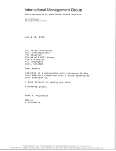 Thumbnail of Letter from Mark H. McCormack to Peter Dobereiner