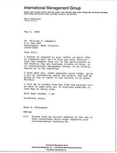Thumbnail of Letter from Mark H. McCormack to William C. Campbell