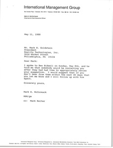 Thumbnail of Letter from Mark H. McCormack to Mark H. Goldstein