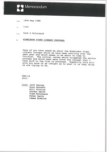 Thumbnail of Memorandum from Mark H. McCormack concerning the Wimbledon Video Library             proposal