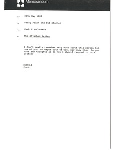Thumbnail of Memorandum from Mark H. McCormack to Barry Frank and Bud Stanner