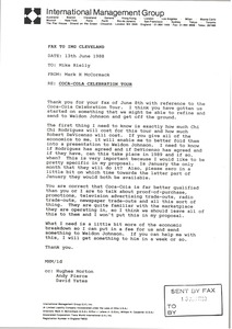 Thumbnail of Fax from Mark H. McCormack to Mike Rielly