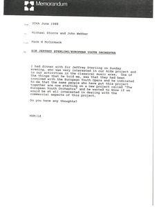 Thumbnail of Memorandum from Mark H. McCormack to Michael Storrs and John Webber