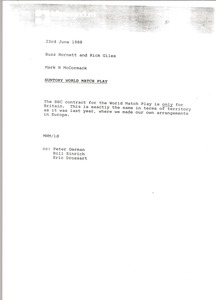 Thumbnail of Memorandum from Mark H. McCormack to Buzz Hornett and Rick Giles