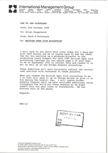Thumbnail of Fax from Mark H. McCormack to Brian Roggenburk