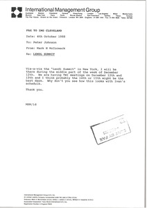 Thumbnail of Fax from Mark H. McCormack to Peter Johnson