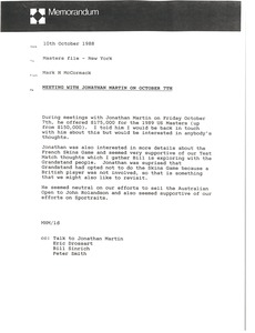 Thumbnail of Memorandum from Mark H. McCormack to Masters file