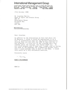 Thumbnail of Letter from Mark H. McCormack to Jonathan Martin