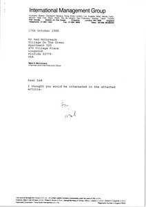 Thumbnail of Letter from Mark H. McCormack to Ned McCormack