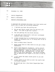 Thumbnail of Memorandum from Mark H. McCormack to Laurie Roggenburk