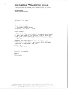 Thumbnail of Letter from Mark H. McCormack to Pete Rozelle