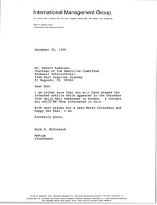 Thumbnail of Letter from Mark H. McCormack to Robert Anderson