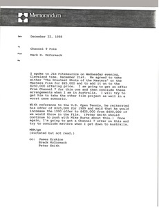 Thumbnail of Memorandum from Mark H. McCormack to Channel 9 file