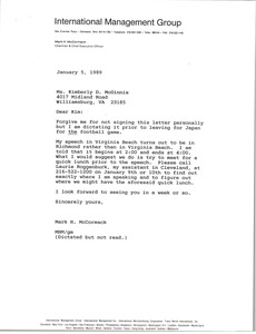 Thumbnail of Letter from Mark H. McCormack to Kimberly D. McGinnis