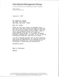 Thumbnail of Letter from Mark H. McCormack to Pamela R. Chang