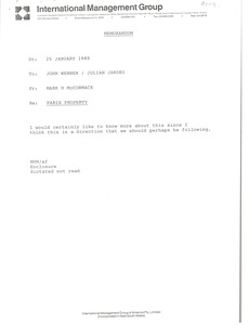 Thumbnail of Memorandum from Mark H. McCormack to John Webber and Julian Jakobi