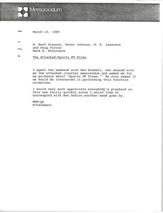 Thumbnail of Memorandum from Mark H. McCormack to H. Kent Stanner, Peter Johnson, H. R.             Isaacson and Doug Pirnie