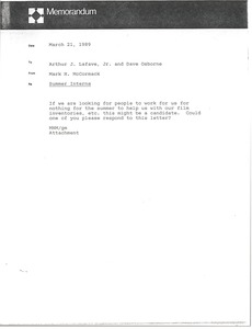 Thumbnail of Memorandum from Mark H. McCormack to Arthur J. Lafave and Dave Osborne