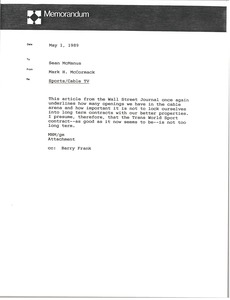 Thumbnail of Memorandum from Mark H. McCormack to Sean McManus