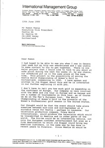 Thumbnail of Letter from Mark H. McCormack to Ramon Masip