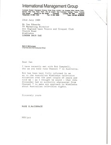 Thumbnail of Letter from Mark H. McCormack to Ian Edwards